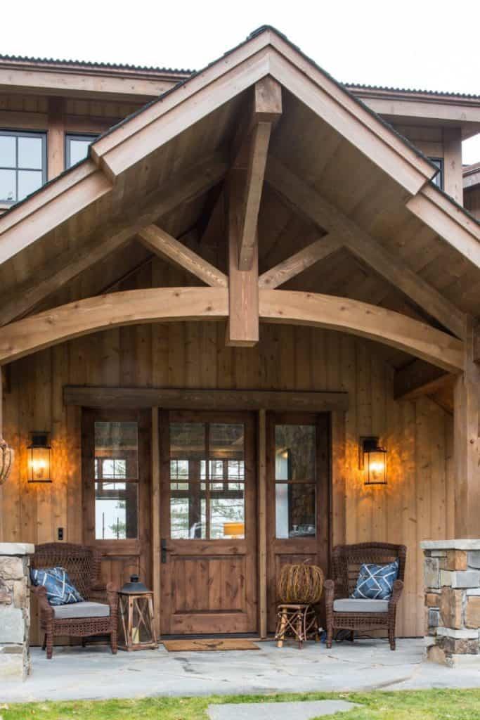 Rustic Wood Exterior Door System with Sidelites