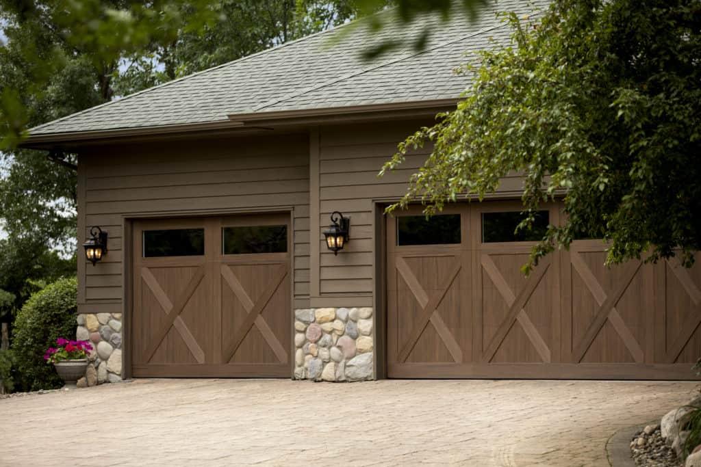 garage doors, low maintenance garage doors, wood look door, exterior design, garage, exteriors, alternative composite, exterior doors